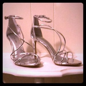 Silver Metallic Strappy Heels Size 6M